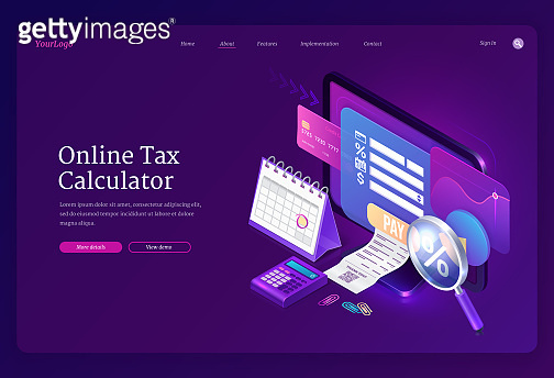 Landing page of online tax calculator