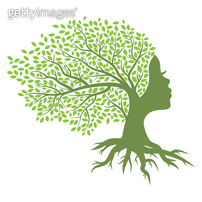 green tree with female face