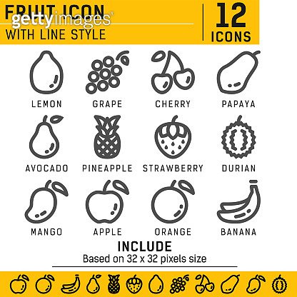 Fruit icon set with line style in isolated white background. Fruit vector icon set, cherry, apple, strawberry, banana and other with outline style. Include based 64x64 pixels size