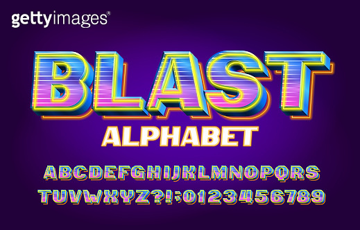 Blast alphabet font. 3D shining letters, numbers and symbols.