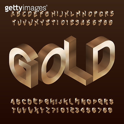 Isometric Gold alphabet font. 3d golden letters and numbers.