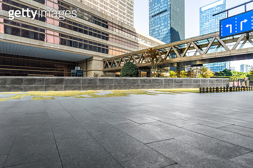 empty brick floor with cityscape and skyline
