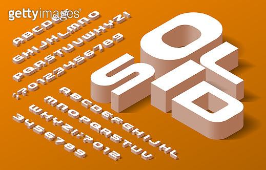 Solid alphabet font. 3d isometric letters, numbers and symbols with shadow.