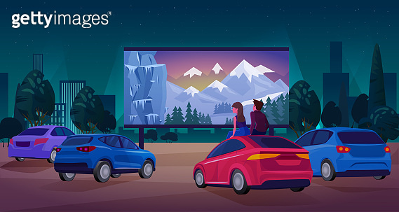 People in car cinema concept vector illustration, cartoon couple driver characters watching movie at big screen of open air cinema theater background