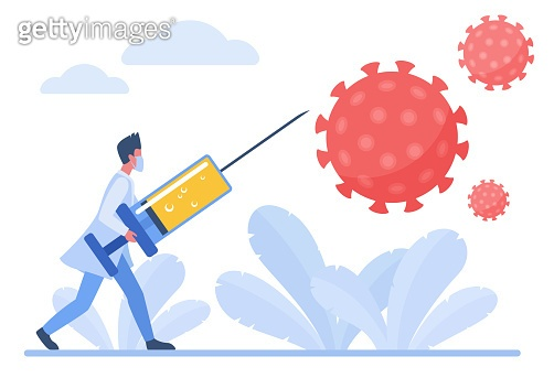 Doctor fighting with coronavirus using vaccine injection prick flat concept vector illustration. Virologists in uniform and protective mask vaccine research virus antibody concept