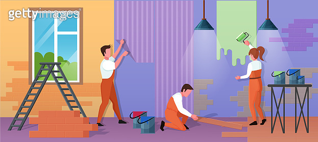 Repair home service vector illustration, cartoon flat repairman worker people work on house renovation, paint wall with roller, glue wallpaper