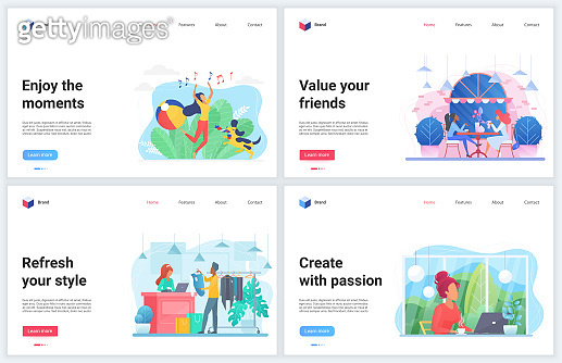 Enjoy moment vector illustrations, cartoon flat design template set with people enjoying friend communication, shopping or working