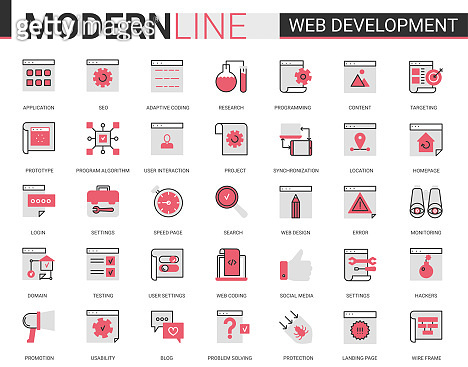 Web development thin red black flat line icon vector illustration set, developing symbols collection of optimization for webpage content, user interface design application