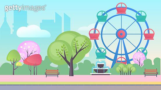 Entertainment park cartoon flat landscape background vector illustration concept