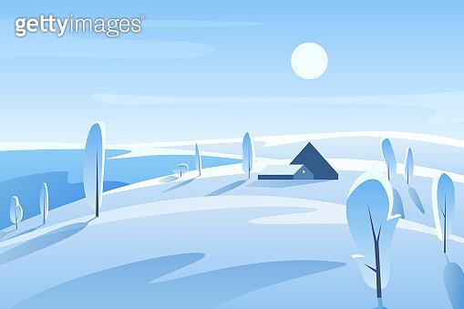 Winter picturesque landscape vector illustration