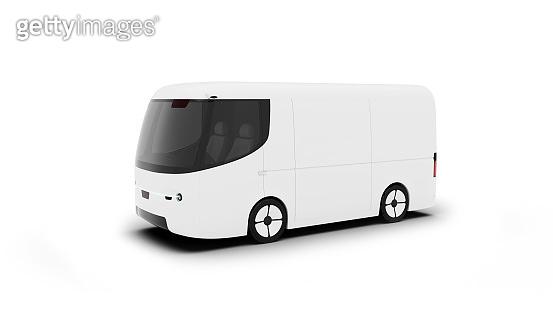 white electric self-driving van for branding