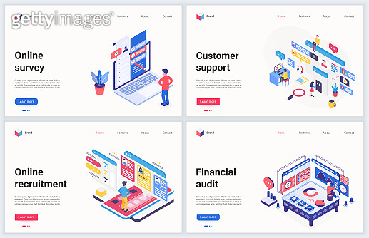 Isometric business recruiting technology vector illustration, cartoon 3d online hr recruitment service, financial account audit and customer support