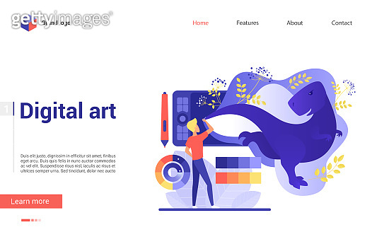 Fantastic picture creation using digital art tablet flat landing page template vector illustration. Art lessons, digital art studio, painting courses education, drawing master class lessons