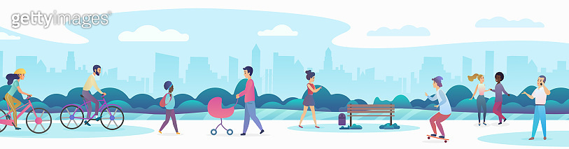City inhabitants at public park recreation zone flat concept vector illustration panoramic banner. Crowd people dancing, riding bicycles and skateboard, talking mobile