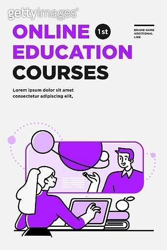 Poster, flyer or banner design template. Business concept illustrations. Modern flat outline style. Online education courses