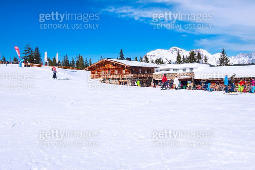 Saalbach-Hinterglemm, Austria ski slope cafe