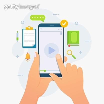 Mobile online education app for e-learning design concept