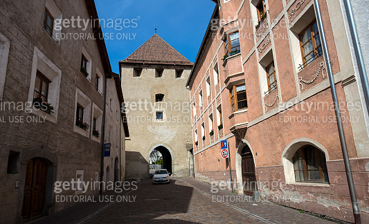 The ancient gateway and buildings of the town of Glorenza, south Tyrol, Bolzano province, Italy.