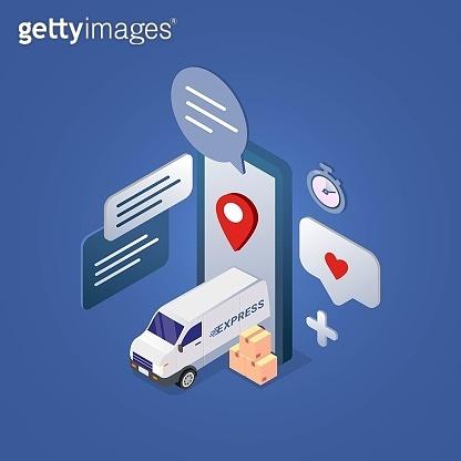 Fast Delivery service design concept for mobile app vector illustration