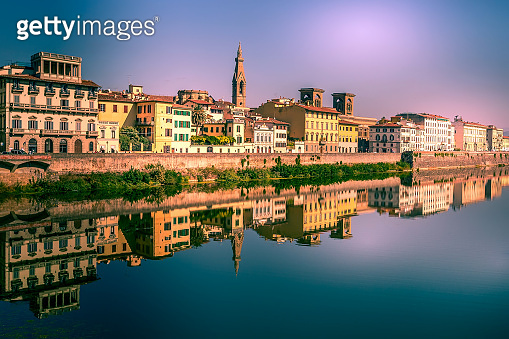 Sante Croce and houses, Florence, Italy
