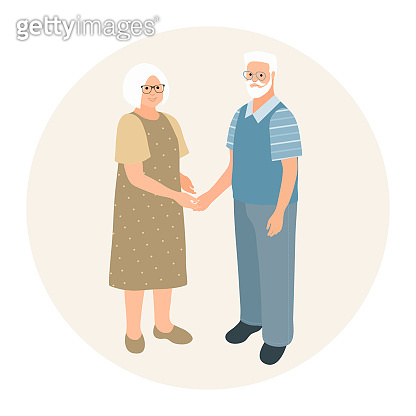 Happy grandparents character design. Fashionable older man and older woman together. Elderly couple holding hands. Feeling happy of granddaddy and grandmother retirement age.Vector