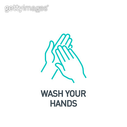 palm with sanitizer drop of gel single line icon isolated on white. Perfect outline symbol clean hands Coronavirus Covid 19 banner wash hands Quality design element with editable Stroke line thickness