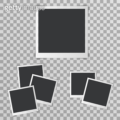 Photo picture frame with shadow realistic design transparent background vector illustration