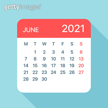 June 2021 Calendar Leaf - Vector Illustration