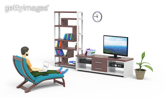 Young man is working on laptop staying home and sitting in front of TV set. White background. 3D illustration