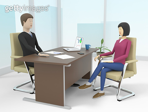 Woman is having the interview to get a job in a company. 3d illustration
