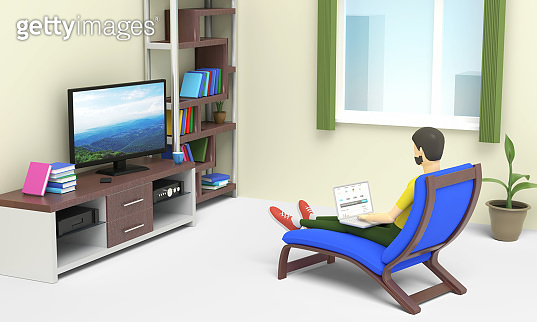 Young man is working on laptop staying home and sitting in a daybed in front of TV set in his room. 3D illustration