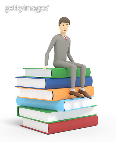 A man is sitting on the top of a ream of books. Isolated on white background. 3d illustration