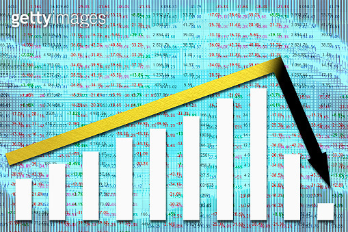 Crisis at the Stock Market. Arrow suddenly falls down after long growth against the background with various numbers