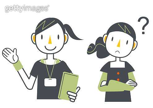 worker and customer icon set, Q&A, instructor