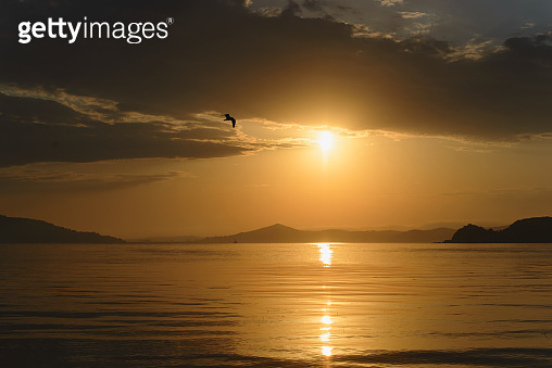 Beautiful cloudy sunset and sea landscape. Gold colored sky and sea, hills silhouette in the evening.