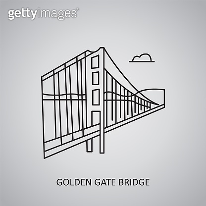 Golden Gate Bridge icon on grey background. USA, San Francisco. Line icon