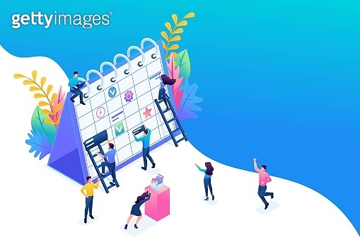 Isometric concept Creating a long-term business planning strategy. Concept for web design
