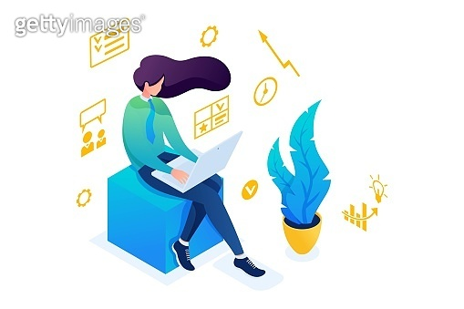 Young girl is engaged in business planning on a laptop. The concept of planning. 3D isometric. Concept for web design