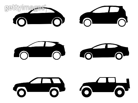 Cars collection icons set on white background