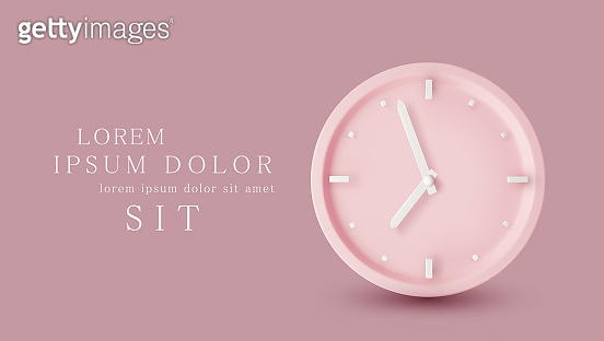 Vector  illustration with 3d object. Pink watch dial with white hands. Isolation on a pink background. Minimalistic pastel template for web site design, flyer, card, banner, advertisement.