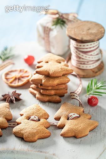 Closeup of sweet gingerbread cookie chain for Christmas