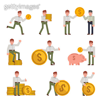 Man in white shirt and green pants posing with big golden coins