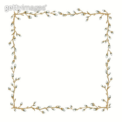 Watercolor rectangular frame with spring branches of pussy-willow