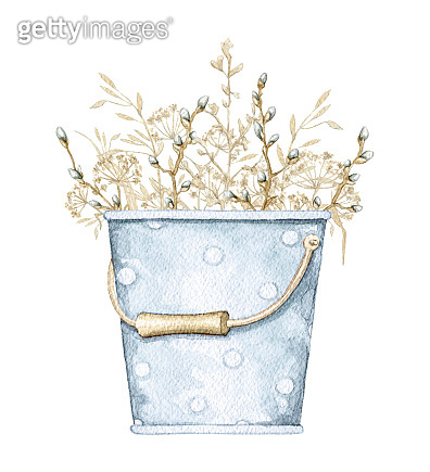 Watercolor blue bucket with bouquet with branches and dry herbs
