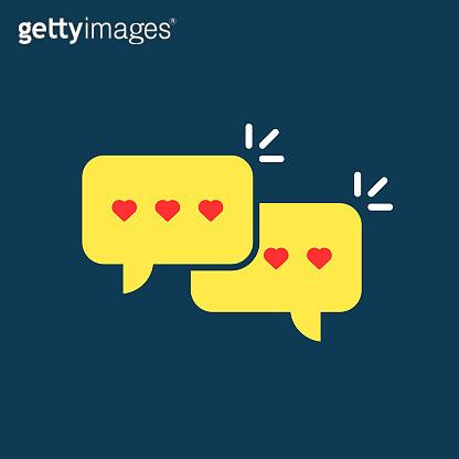 yellow love messages speech bubble