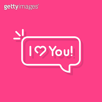 thin line i love you text speech bubble