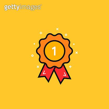 cartoon award medal like 1st icon