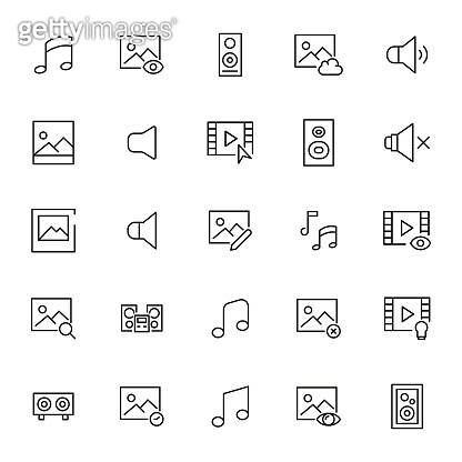 Simple set of multimedia icons in trendy line style.