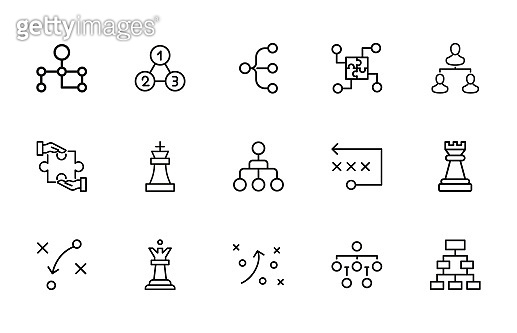 Simple set of strategy icons in trendy line style.