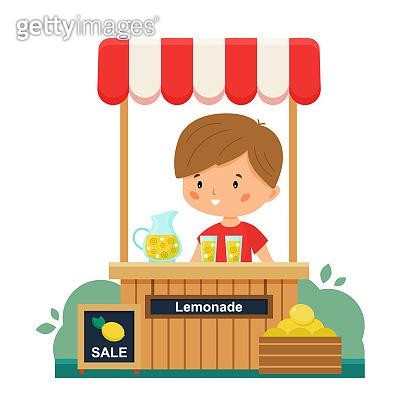 The boy sells lemonade. Sale lemons. Vector lemonade stand.